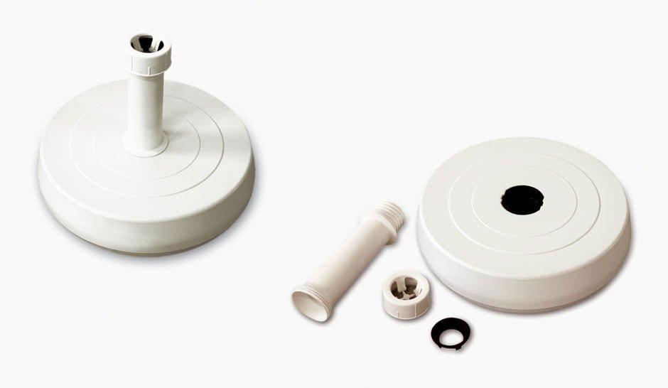 Base de resina rellenada de cemento para montura de 18-54mm, diámetro 420mm, peso 25 Kg.