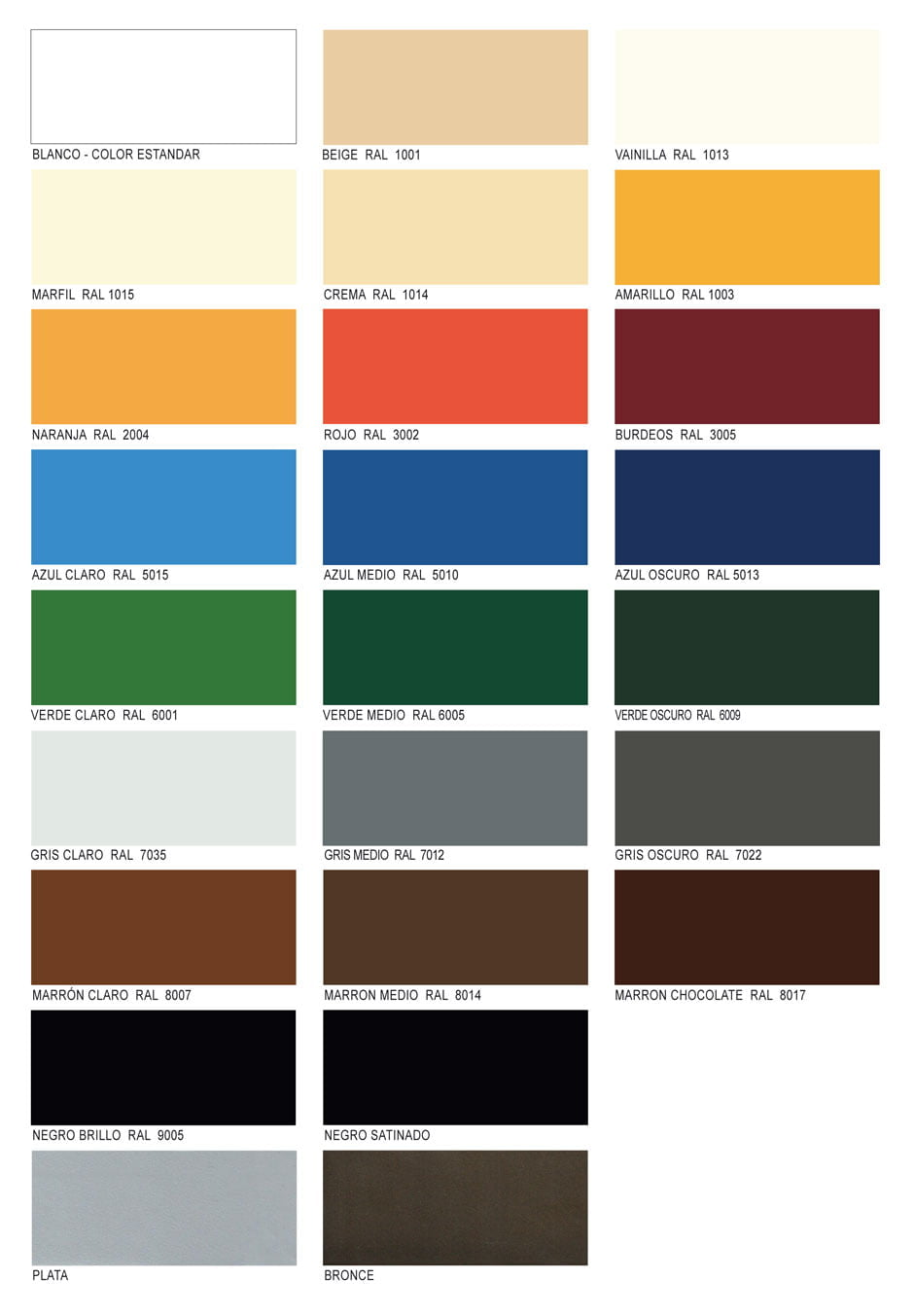 Tejidos y lacados sps sistemas de protecci n solar for Colores ventanas aluminio lacado